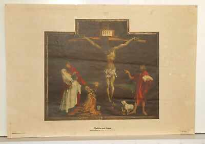 Wall Picture Map Crucifixion Jesus Christ on cross Poster 92x64 Vintage 1952
