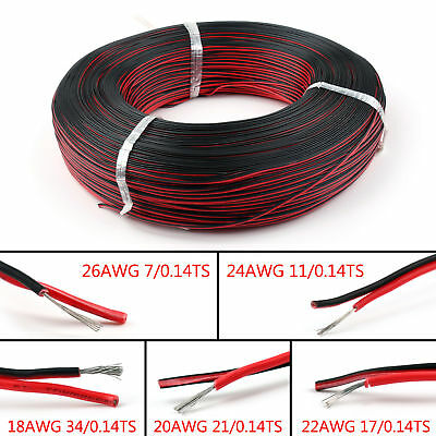 2 Pin 18 20 22 24 26AWG Black Red Cable Extension Wire Cord