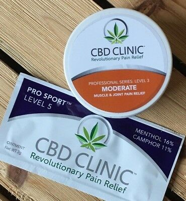 CBD Clinic Level 3 Moderate Muscle & Joint Pain Relief Cream + LEVEL 5 SAMPLE