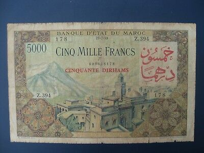 1953 Morocco (Africa/france) 50 Dirhams On 5000 Francs Banknote Crisp Vg
