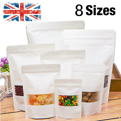 White Display Food Bags Kraft Paper Window Stand Up Plastic Bag Pouch Zip Lock