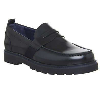 Mens Ask The Missus Inspiration Loafers Navy Leather Formal Shoes