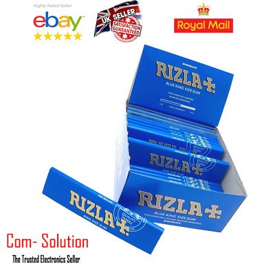 Full Box of 50 Booklets Rizla Blue Slim Rolling Cigarette Papers  King Size