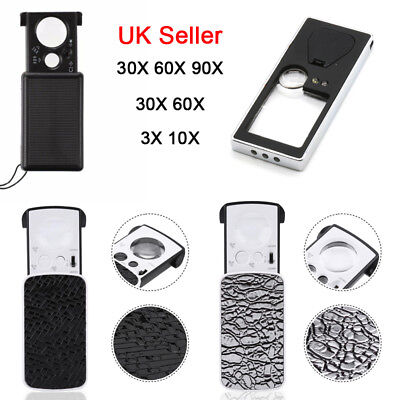 Portable Magnifier LED Light Jeweller Magnifying Eye Optical Glass Loupe Antique