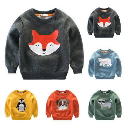 Infant Baby Kids Boys Girls T-shirt Cartoon Printed Warm Tops Sweatshirt Outfits