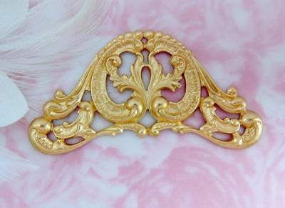 BRASS Ornate Scroll Cartouche Stamping ~ Jewelry Finding Pendant (C-904)