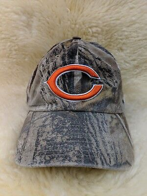 048fd81fd12 Chicago Bears NFL 47 Brand Adjustable Strapback Hat Dad Cap Realtree Camo  EUC