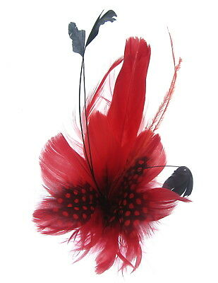 Bright Red feather fascinator clip, Weddings,Ladies Day Ascot Races
