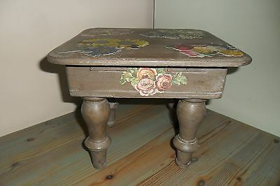 Gorgeous French Antique Wood Decoupage Stool with Lid - Good condition.