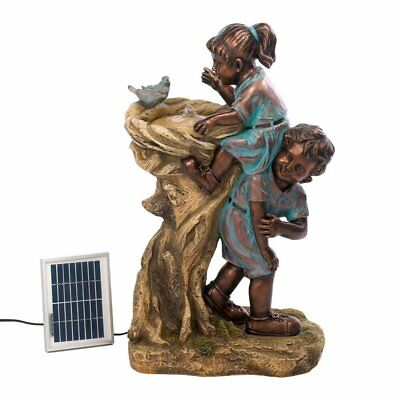 Cute Kids Girl & Boy Boost At Drinking Fountain SOLAR with Electric Adapter NIB