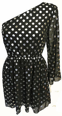 Topshop Black Silver One Shoulder Polkadot Spotty Chiffon Dress Long Sleeved