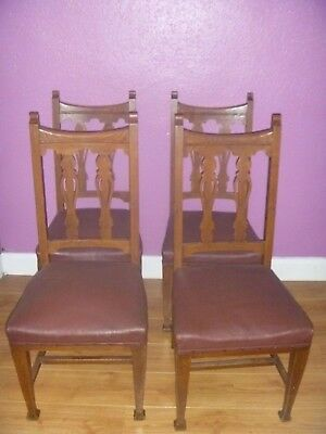 Antique Art Nouveau  Dining Chairs x 4 For Restoration Or Use