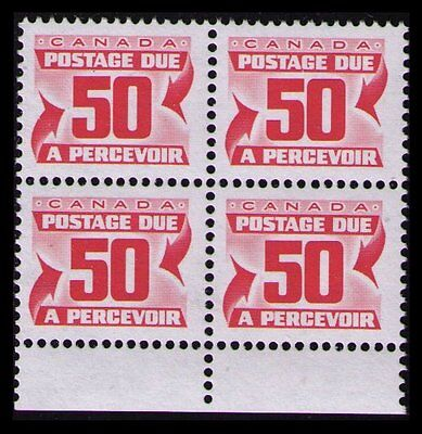 CANADA 1977 50c #J40 RED VF MNH POSTAGE DUE BLOCK OF 4 CAT $5. SEE SCAN (U355)