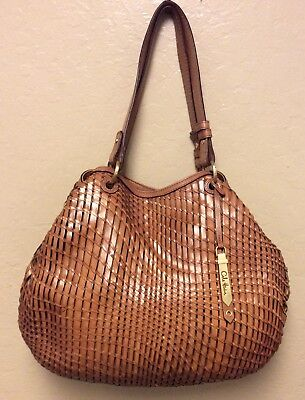 32bfcb0848 Cole Haan Genevieve Woven Leather Saddle Weave Tote Hobo Handbag Purse