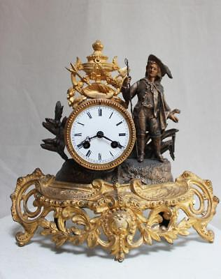 ANTIQUE 1870 FRENCH  CLOCK  Gilt  Ormolu ROMANTIC craftsman