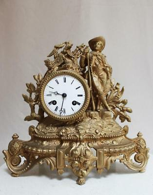 ANTIQUE 1870 FRENCH  CLOCK  Gilt  Ormolu ROMANTIC Hunter