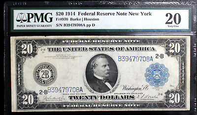 1914 $20 Federal Reserve Note - New York FR-970 PMG 20 Very Fine BURKE | HOUSTON