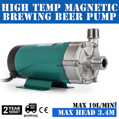 """Magnetic Brewing Beer Pump Stainless Steel Head 1/2"""" MPT High Temp 10W 2800 RPM"""