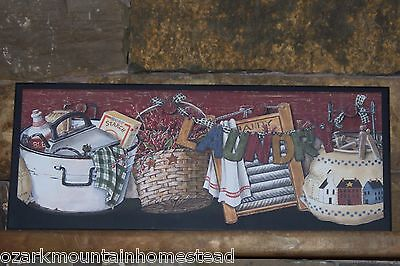 Laundry Room Sign Old Washtub Country Rustic wall decor picture primitive plaque