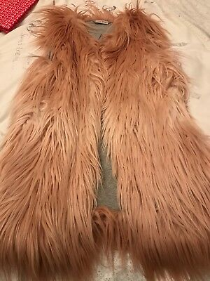 Girls Next Pink Faux Fur Gilet Age 10