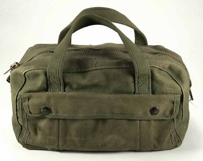 Vintage US Army Military Green Mechanic Tool Bag Pouch Small Canvas Duffle 3e6c4da84a749