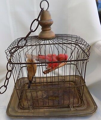 9977531 Metal Bird Cage Vintage White Rustic Other Architectural Antiques