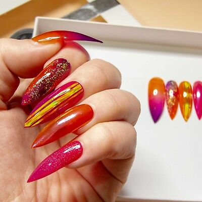 Press On Glass Nails Holographic Jelly Long Stiletto Coffin Fake False Glue Tabs