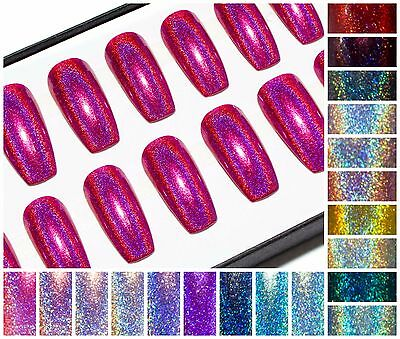 Holographic Long Coffin Press On Acrylic Fake Artificial False Glue Faux Nails