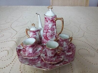 Formalities By Baum Brothers Miniature 8 Piece Burgundy Floral Tea Coffee Set