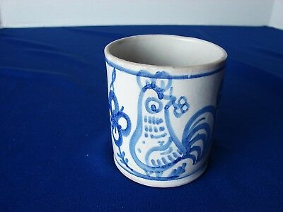 VTG Vietri BLUE & White ROOSTER Italy Pottery Expresso Coffee Cup MUG