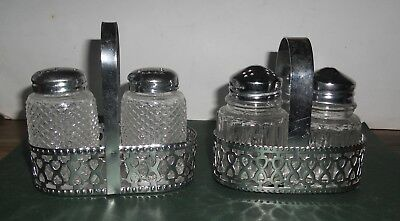 2 Pair Of Glass Salt And Pepper Shakers