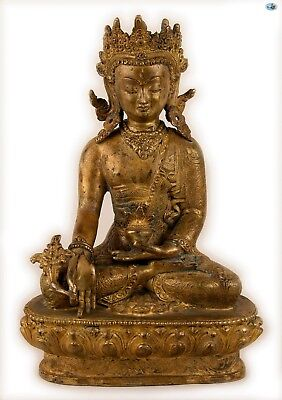 Rare Antique 1800s Asian Chinese Crowned Tara Buddha Gilded Bronze Statue