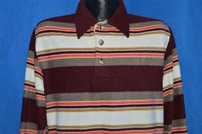vintage 80s JC PENNEY MAROON WHITE STRIPED LS MENS PULL OVER POLO SHIRT LARGE L