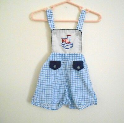 57acedc04 VINTAGE Baby Boys Overalls Romper Outfit Size 12 Months Tuff Cookies Blue  Beach