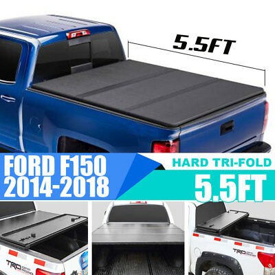 For 14-18 Ford F150 5.5' Trunk Short Bed Frp Hard Solid Tri-Fold Tonneau Cover