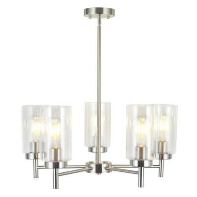 VINLUZ Contemporary 5-Light Large Chandeliers Modern Clear Glass Shades...