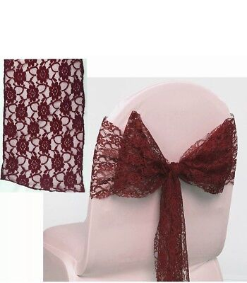 Pack of 70 Maroon Lace Bow Sashes For Weddings/ Parties
