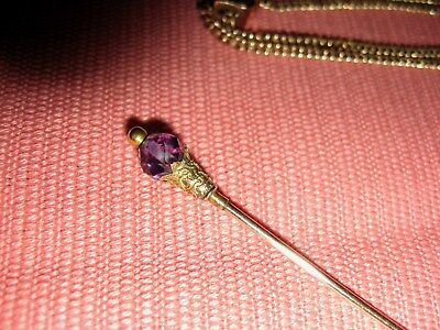 "Antique Victorian Yellow Gold Art-Nouveau Hatpin Amethyst Stone - 6 6/8"" lg 9ct?"