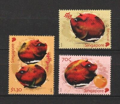 Singapore 2019 Zodiac Year Of Pig Comp. Set Of 3 Stamps In Mint Mnh Unused