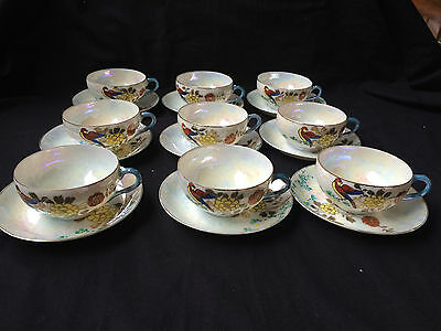 antique porcelain. Set of 9 chinese cups and saucers. Marked