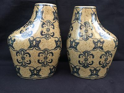 Antique pair of beautiful decorated chinese vases. Marked Bottom