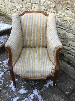 Antique French 19th Century Satin Wood Armchair