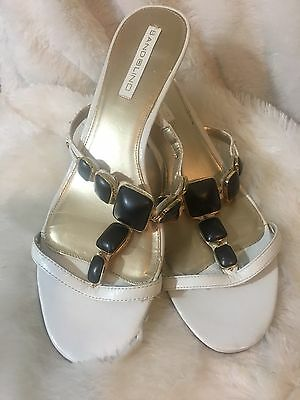 51d308d53bfd0 Bandolino White Leather Jeweled Sandals Shoes Heels Slip On Size 10m