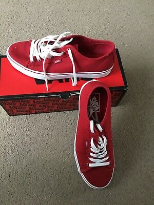 1a5fa2b241 MENS VANS FERRIS Canvas Shoes Red White Lace Up Trainers - EUR 25
