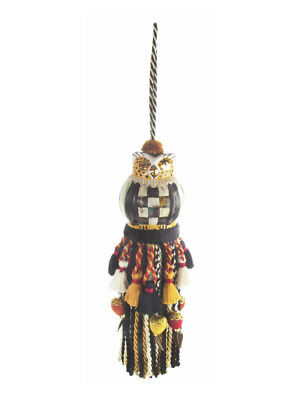 MACKENZIE CHILDS Upscale Decorator Ceramic COURTLY CHECK OWL Tassel NEW m18-1