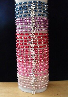 Wholesale Jewellery Job Lot 30 Beaded Charm Bracelets,gifts,party Bags,retail