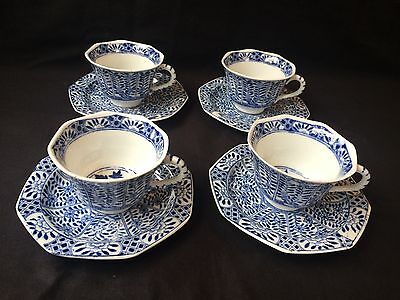 4 19C Chinese Porcelain Cup & Saucer Blue White 'Flowers' Antique Kangxi Marked