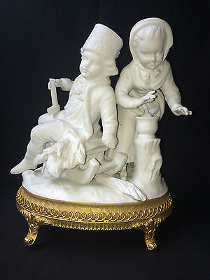 antique bisque / porcelain NAPLES figurine. 2 kids . Marked