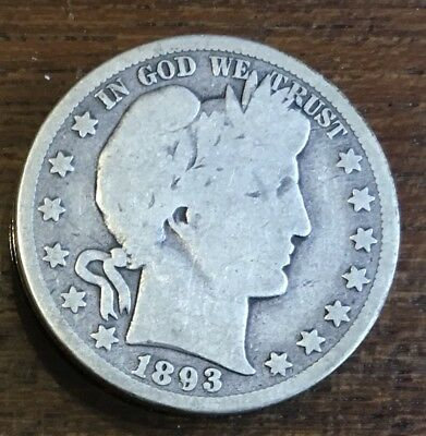 1893-S BARBER SILVER HALF DOLLAR  **FREE** s/h