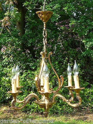 1930s Vintage French 6 arm bronze cage Chandelier (T9)